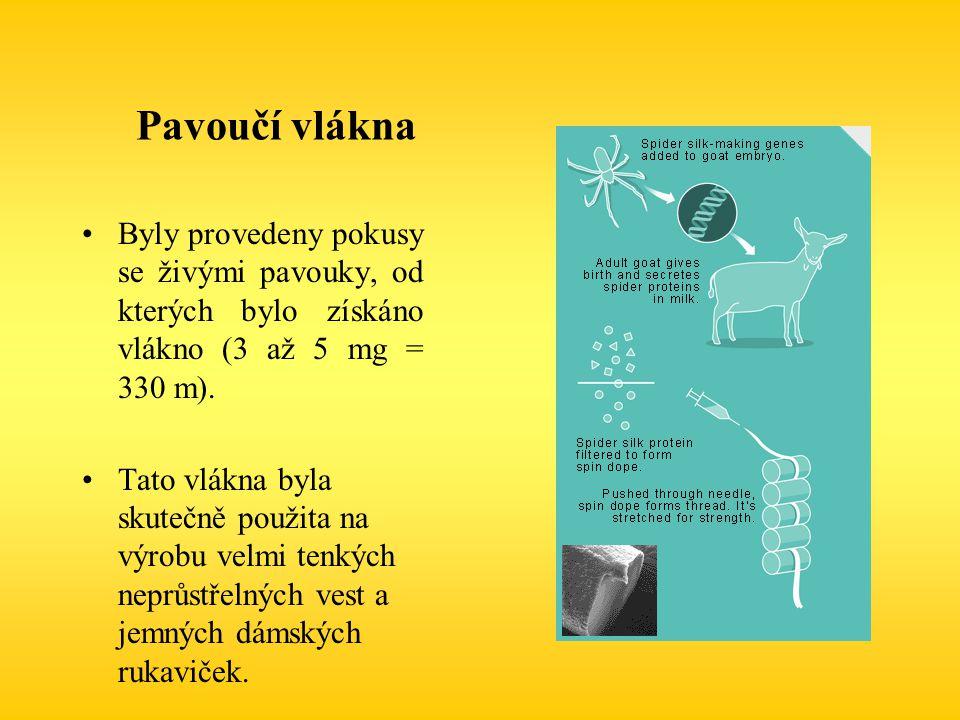 Pavoučí vlákna Byly provedeny pokusy se živými pavouky, od kterých bylo získáno vlákno (3 až 5 mg = 330 m). Tato vlákna byla skutečně použita na výrob