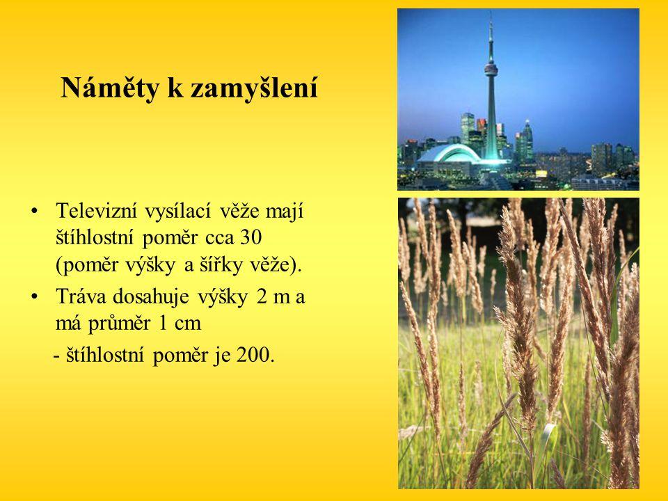 Náměty k zamyšlení Televizní vysílací věže mají štíhlostní poměr cca 30 (poměr výšky a šířky věže). Tráva dosahuje výšky 2 m a má průměr 1 cm - štíhlo
