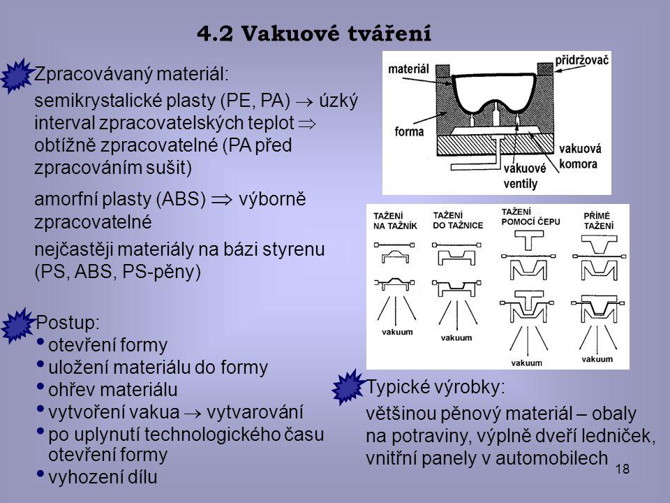 18 4.2 Vakuové tváření Zpracovávaný materiál: semikrystalické plasty (PE, PA)  úzký interval zpracovatelských teplot  obtížně zpracovatelné (PA před