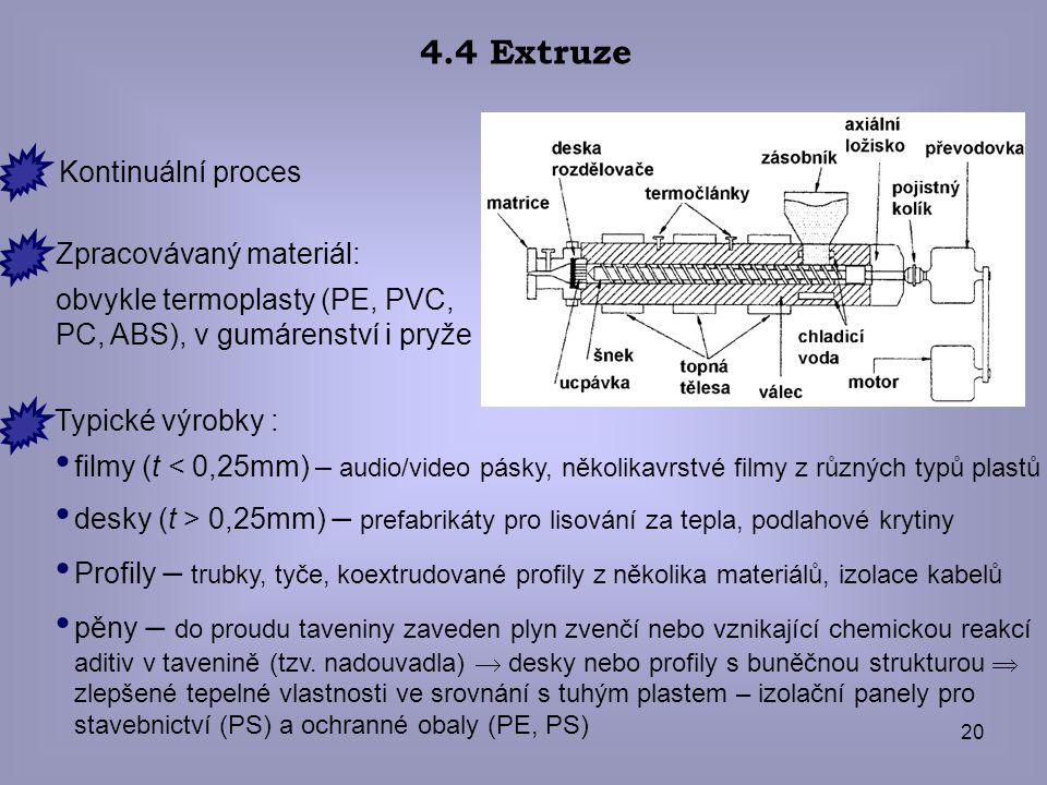 20 4.4 Extruze Zpracovávaný materiál: obvykle termoplasty (PE, PVC, PC, ABS), v gumárenství i pryže Typické výrobky : filmy (t < 0,25mm) – audio/video