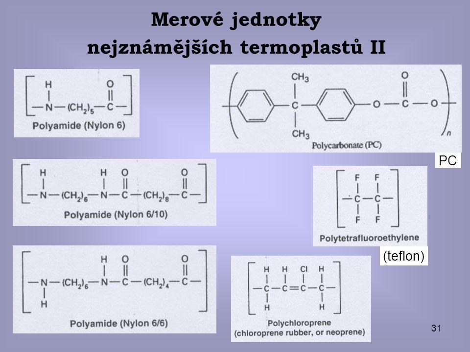 31 Merové jednotky nejznámějších termoplastů II (teflon) PC
