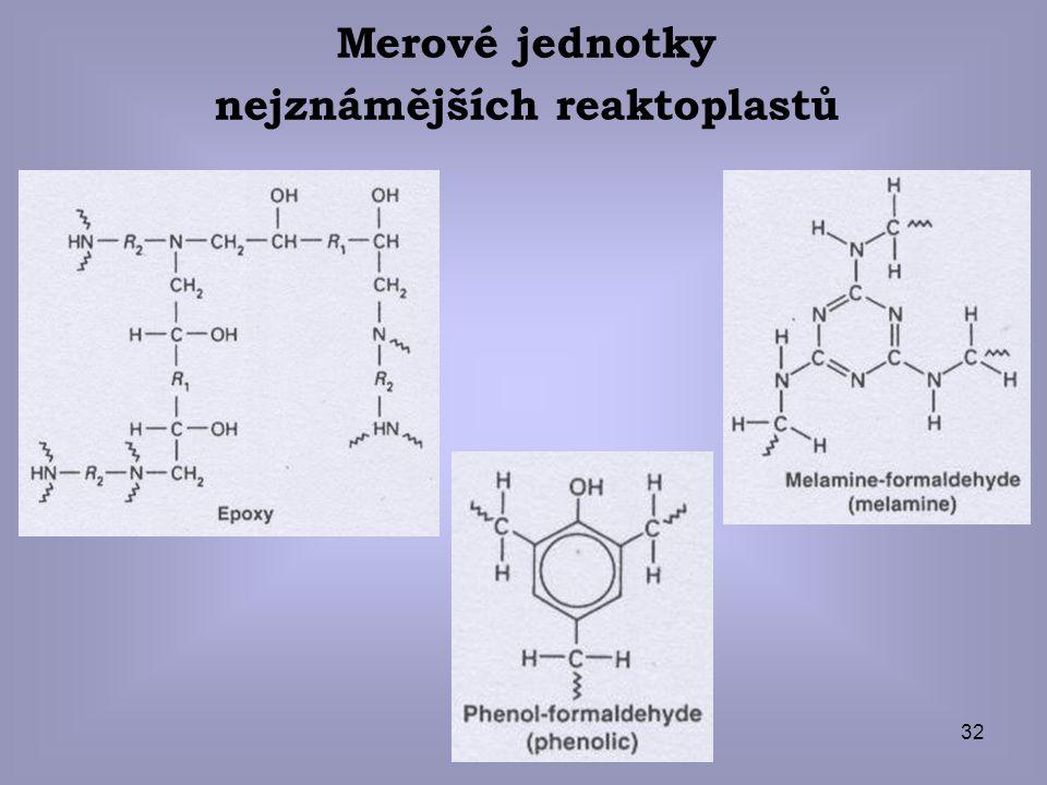 32 Merové jednotky nejznámějších reaktoplastů