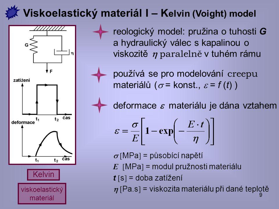 10 Maxwell viskoelastický materiál  i  MPa  = původní zatížení, E  MPa  = modul pružnosti materiálu,   Pa.s  = viskozita materiálu při dané teplotě reologický model: pružina o tuhosti G a hydraulický válec s kapalinou o viskozitě  seriově Viskoelastický materiál II – Maxwellův model používá se pro modelování relaxace materiálů (  = konst.,  = f (t) ) napětí  t v materiálu dosažené v čase t je dáno vztahem