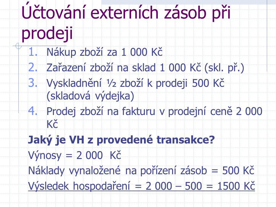 Účtování externích zásob při prodeji 1. Nákup zboží za 1 000 Kč 2. Zařazení zboží na sklad 1 000 Kč (skl. př.) 3. Vyskladnění ½ zboží k prodeji 500 Kč