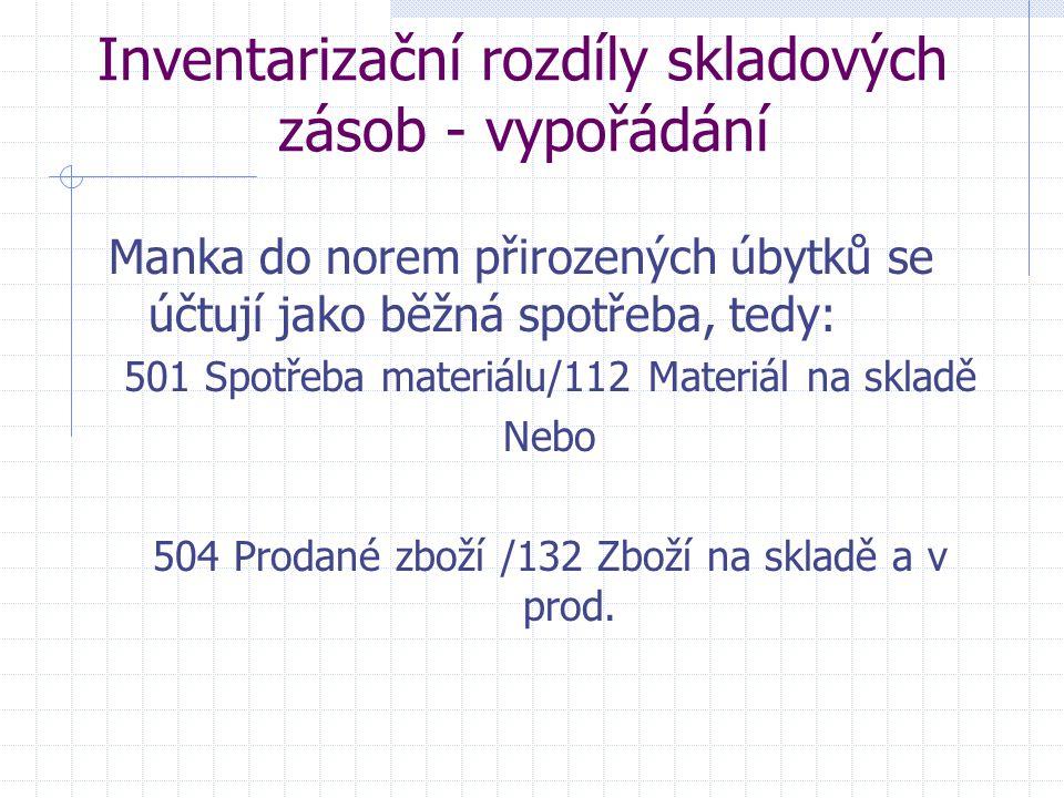 Inventarizační rozdíly skladových zásob - vypořádání Manka do norem přirozených úbytků se účtují jako běžná spotřeba, tedy: 501 Spotřeba materiálu/112