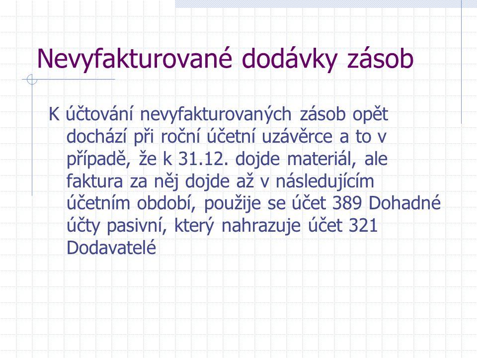 Nevyfakturované dodávky zásob K účtování nevyfakturovaných zásob opět dochází při roční účetní uzávěrce a to v případě, že k 31.12. dojde materiál, al