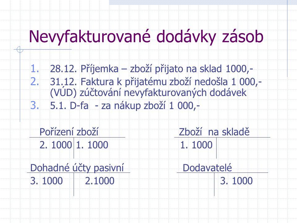Nevyfakturované dodávky zásob 1. 28.12. Příjemka – zboží přijato na sklad 1000,- 2. 31.12. Faktura k přijatému zboží nedošla 1 000,- (VÚD) zúčtování n