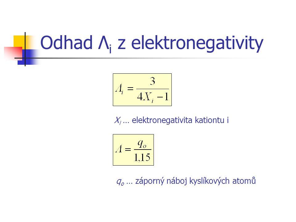 Odhad Λ i z elektronegativity X i … elektronegativita kationtu i q o … záporný náboj kyslíkových atomů