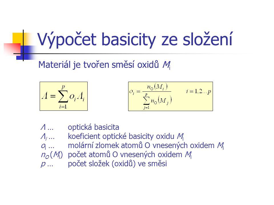 Výpočet basicity ze složení Λ … optická basicita Λ i …koeficient optické basicity oxidu M i o i …molární zlomek atomů O vnesených oxidem M i n O (M i
