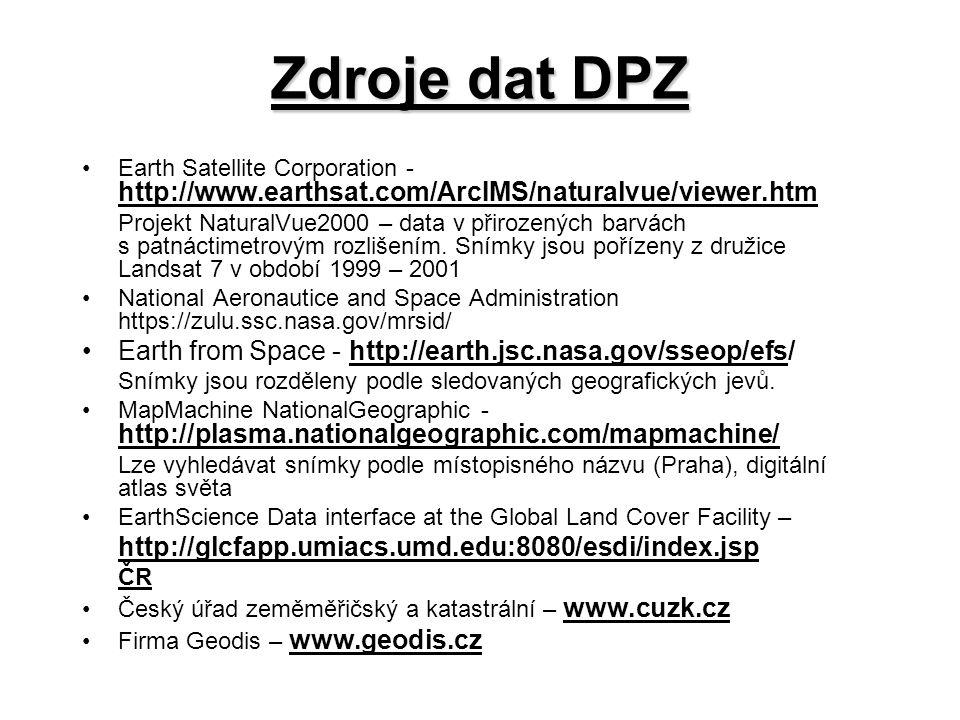 Zdroje dat DPZ Earth Satellite Corporation - http://www.earthsat.com/ArcIMS/naturalvue/viewer.htm Projekt NaturalVue2000 – data v přirozených barvách s patnáctimetrovým rozlišením.