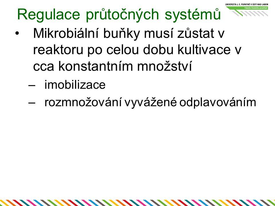 Regulace průtočných systémů Mikrobiální buňky musí zůstat v reaktoru po celou dobu kultivace v cca konstantním množství –imobilizace –rozmnožování vyvážené odplavováním