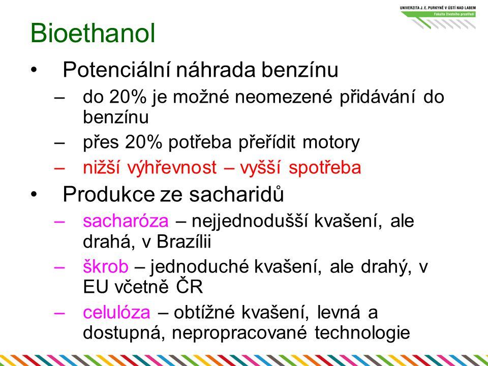 Bioethanol Potenciální náhrada benzínu –do 20% je možné neomezené přidávání do benzínu –přes 20% potřeba přeřídit motory –nižší výhřevnost – vyšší spotřeba Produkce ze sacharidů –sacharóza – nejjednodušší kvašení, ale drahá, v Brazílii –škrob – jednoduché kvašení, ale drahý, v EU včetně ČR –celulóza – obtížné kvašení, levná a dostupná, nepropracované technologie