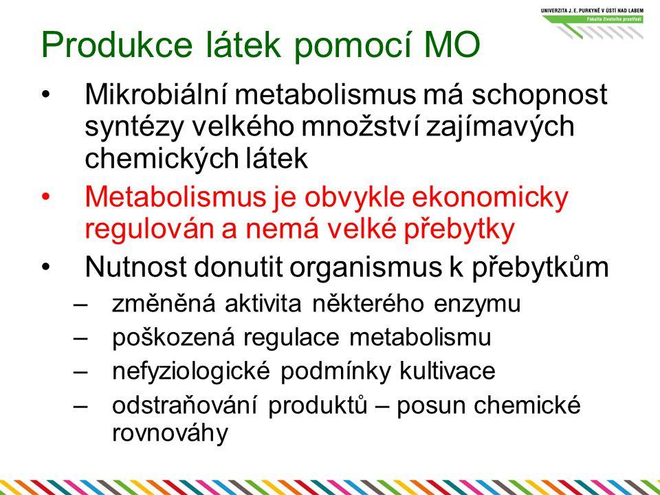 Produkce látek pomocí MO Mikrobiální metabolismus má schopnost syntézy velkého množství zajímavých chemických látek Metabolismus je obvykle ekonomicky regulován a nemá velké přebytky Nutnost donutit organismus k přebytkům –změněná aktivita některého enzymu –poškozená regulace metabolismu –nefyziologické podmínky kultivace –odstraňování produktů – posun chemické rovnováhy