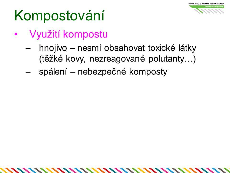 Kompostování Využití kompostu –hnojivo – nesmí obsahovat toxické látky (těžké kovy, nezreagované polutanty…) –spálení – nebezpečné komposty