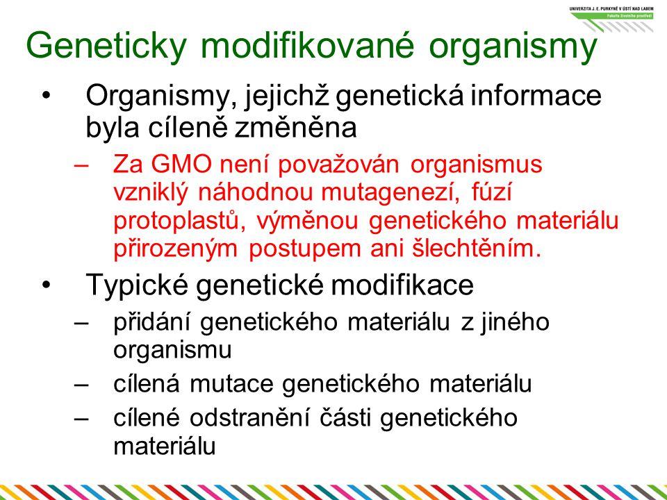 Geneticky modifikované organismy Organismy, jejichž genetická informace byla cíleně změněna –Za GMO není považován organismus vzniklý náhodnou mutagenezí, fúzí protoplastů, výměnou genetického materiálu přirozeným postupem ani šlechtěním.