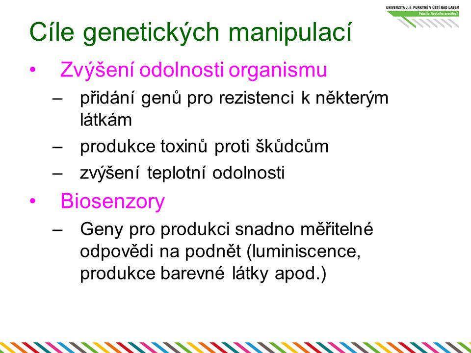 Cíle genetických manipulací Zvýšení odolnosti organismu –přidání genů pro rezistenci k některým látkám –produkce toxinů proti škůdcům –zvýšení teplotní odolnosti Biosenzory –Geny pro produkci snadno měřitelné odpovědi na podnět (luminiscence, produkce barevné látky apod.)