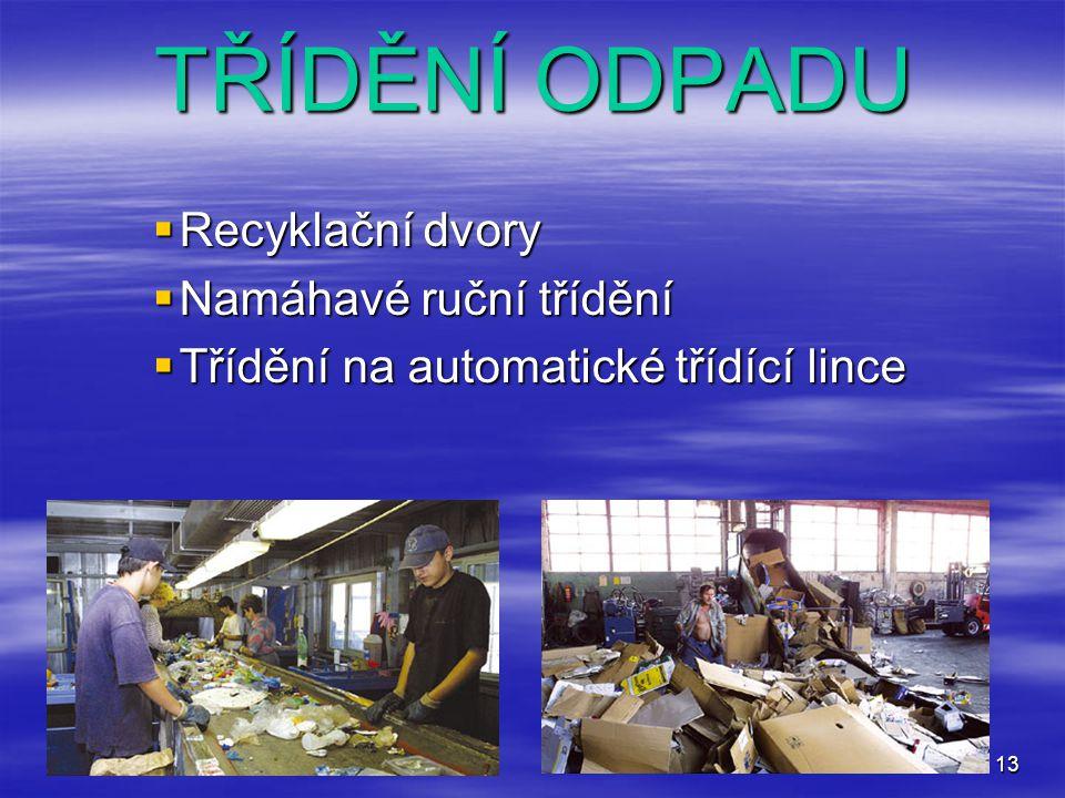 13 TŘÍDĚNÍ ODPADU  Recyklační dvory  Namáhavé ruční třídění  Třídění na automatické třídící lince