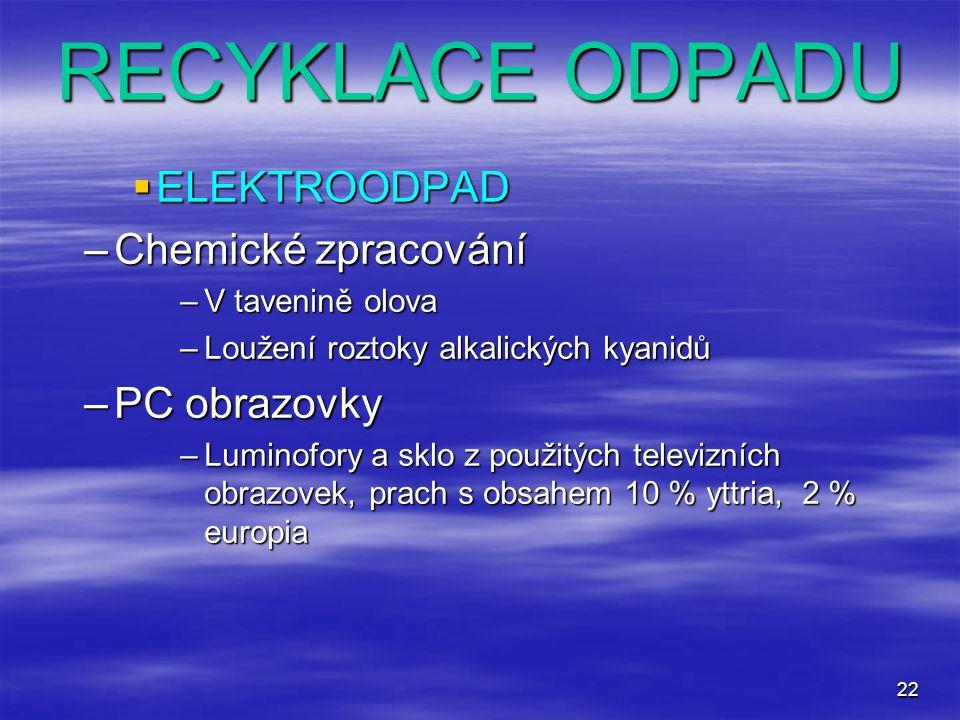 22 RECYKLACE ODPADU  ELEKTROODPAD –Chemické zpracování –V tavenině olova –Loužení roztoky alkalických kyanidů –PC obrazovky –Luminofory a sklo z použ