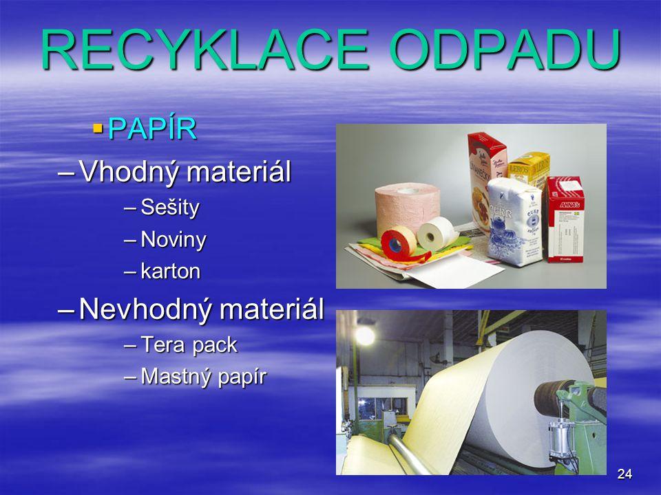 24 RECYKLACE ODPADU  PAPÍR –Vhodný materiál –Sešity –Noviny –karton –Nevhodný materiál –Tera pack –Mastný papír
