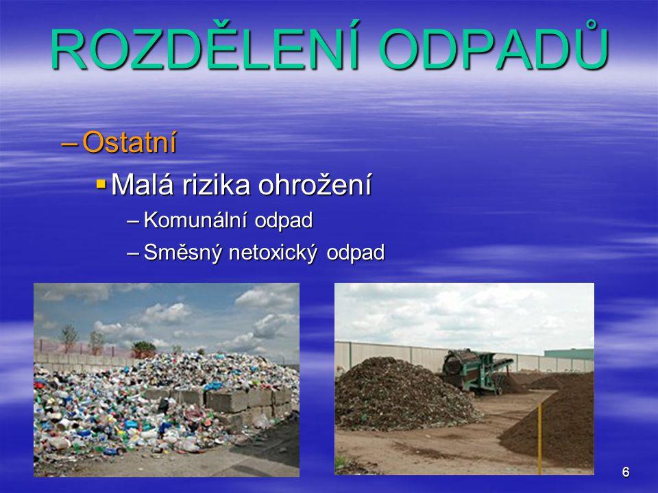 6 ROZDĚLENÍ ODPADŮ –Ostatní  Malá rizika ohrožení –Komunální odpad –Směsný netoxický odpad