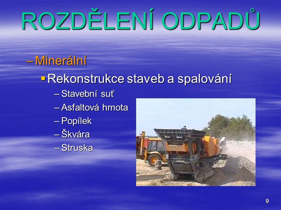 9 –Minerální  Rekonstrukce staveb a spalování –Stavební suť –Asfaltová hmota –Popílek –Škvára –Struska