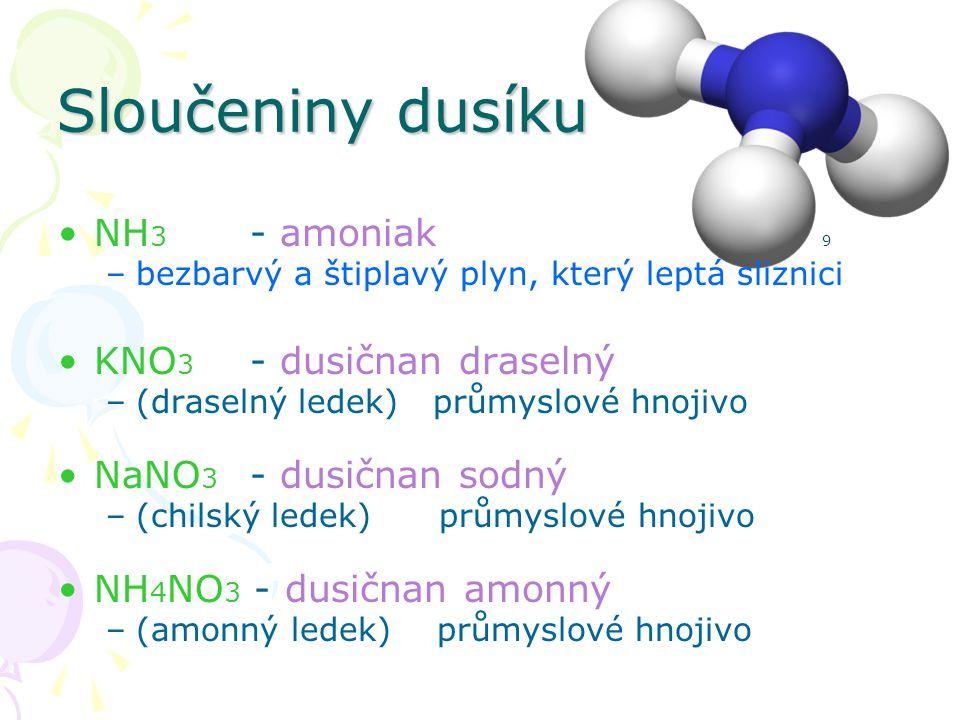 Sloučeniny dusíku NH 3 - amoniak 9 –bezbarvý a štiplavý plyn, který leptá sliznici KNO 3 - dusičnan draselný –(draselný ledek) průmyslové hnojivo NaNO