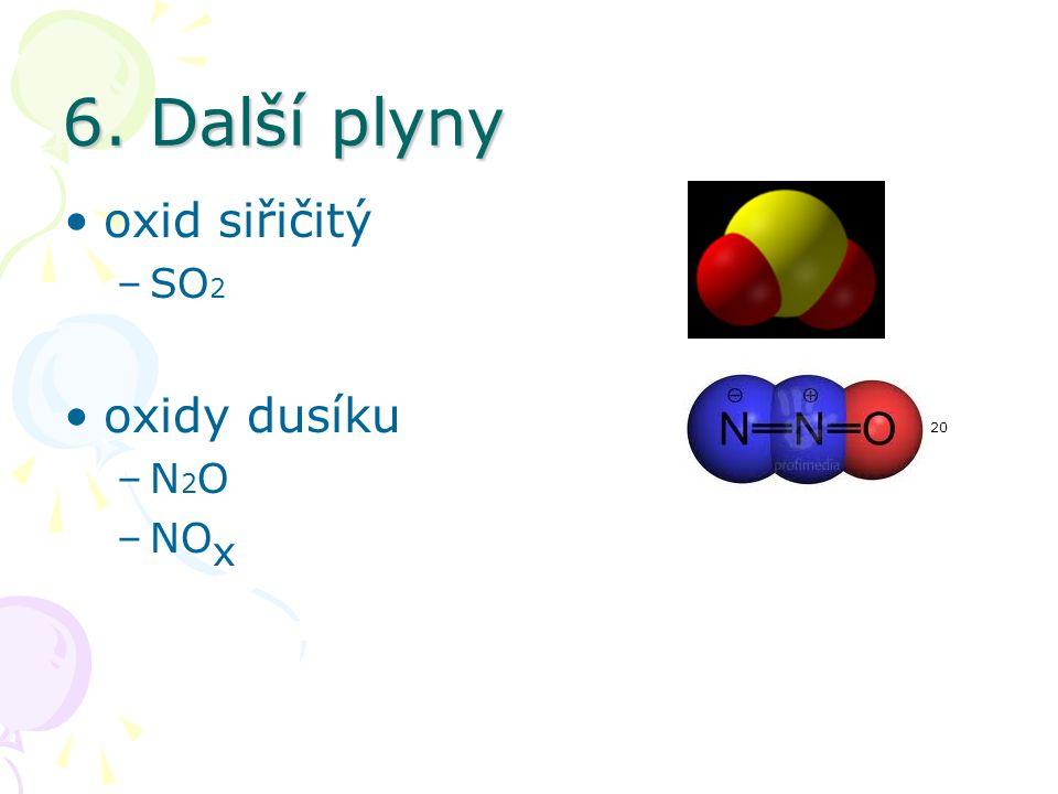 6. Další plyny oxid siřičitý –SO 2 19 oxidy dusíku 20 –N 2 O –NO x