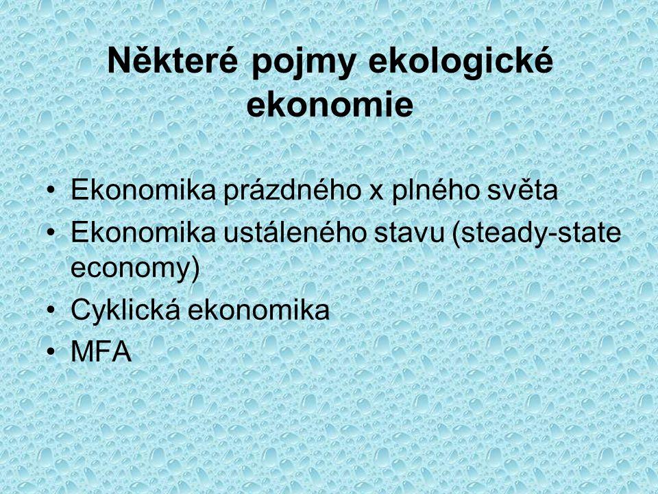 Některé pojmy ekologické ekonomie Ekonomika prázdného x plného světa Ekonomika ustáleného stavu (steady-state economy) Cyklická ekonomika MFA