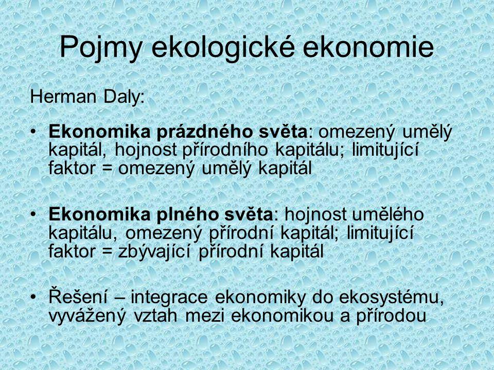 Pojmy ekologické ekonomie Herman Daly: Ekonomika prázdného světa: omezený umělý kapitál, hojnost přírodního kapitálu; limitující faktor = omezený umělý kapitál Ekonomika plného světa: hojnost umělého kapitálu, omezený přírodní kapitál; limitující faktor = zbývající přírodní kapitál Řešení – integrace ekonomiky do ekosystému, vyvážený vztah mezi ekonomikou a přírodou