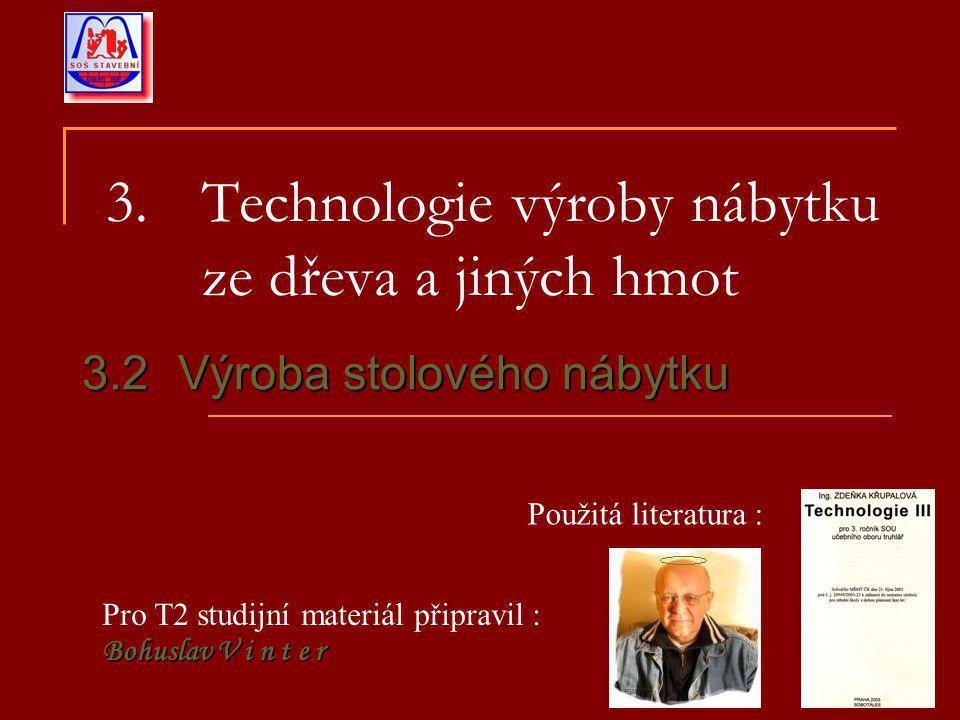 3.Technologie výroby nábytku ze dřeva a jiných hmot 3.2Výroba stolového nábytku Pro T2 studijní materiál připravil : Bohuslav V i n t e r Použitá literatura :