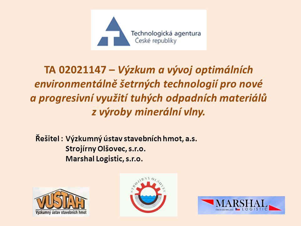 TA 02021147 – Výzkum a vývoj optimálních environmentálně šetrných technologií pro nové a progresivní využití tuhých odpadních materiálů z výroby miner