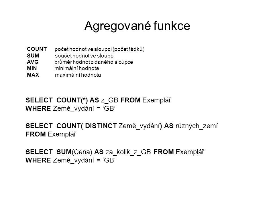 Agregované funkce COUNT počet hodnot ve sloupci (počet řádků) SUM součet hodnot ve sloupci AVG průměr hodnot z daného sloupce MIN minimální hodnota MA