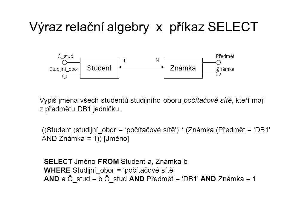 Výraz relační algebry x příkaz SELECT StudentZnámka 1 N Č_stud Studijní_obor Předmět Známka Vypiš jména všech studentů studijního oboru počítačové sítě, kteří mají z předmětu DB1 jedničku.