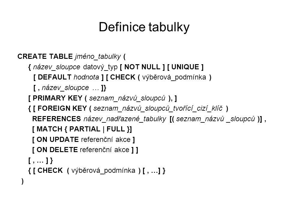 Definice tabulky CREATE TABLE jméno_tabulky ( { název_sloupce datový_typ [ NOT NULL ] [ UNIQUE ] [ DEFAULT hodnota ] [ CHECK ( výběrová_podmínka ) [, název_sloupce … ]} [ PRIMARY KEY ( seznam_názvů_sloupců ), ] { [ FOREIGN KEY ( seznam_názvů_sloupců_tvořící_cizí_klíč ) REFERENCES název_nadřazené_tabulky [( seznam_názvů _sloupců )], [ MATCH { PARTIAL | FULL }] [ ON UPDATE referenční akce ] [ ON DELETE referenční akce ] ] [, … ] } { [ CHECK ( výběrová_podmínka ) [, …] } )
