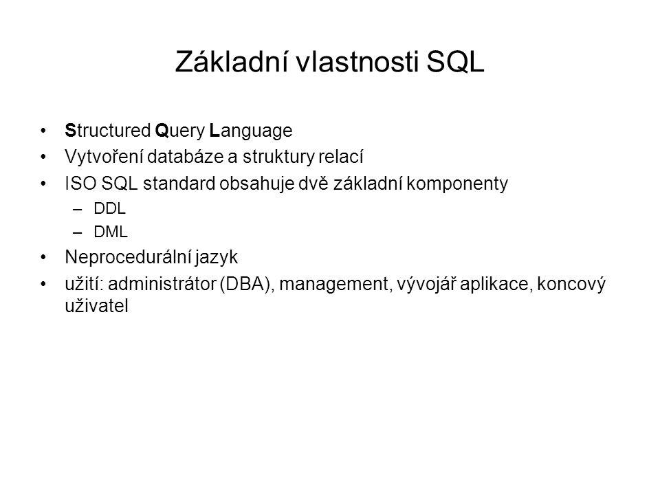 Základní vlastnosti SQL Structured Query Language Vytvoření databáze a struktury relací ISO SQL standard obsahuje dvě základní komponenty –DDL –DML Neprocedurální jazyk užití: administrátor (DBA), management, vývojář aplikace, koncový uživatel