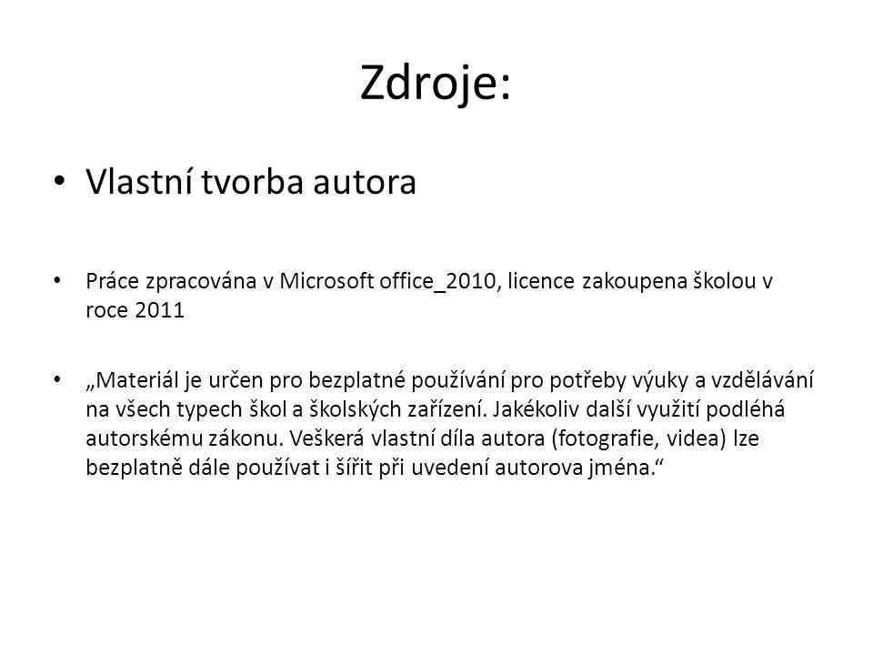 """Zdroje: Vlastní tvorba autora Práce zpracována v Microsoft office_2010, licence zakoupena školou v roce 2011 """"Materiál je určen pro bezplatné používán"""