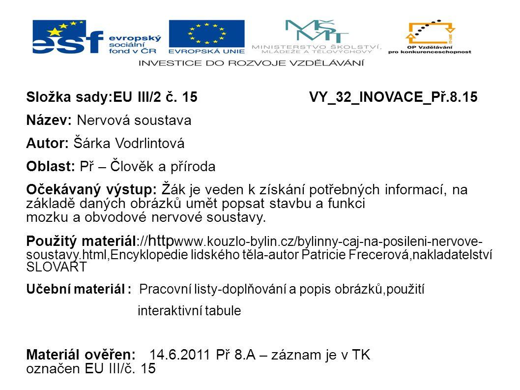 Složka sady:EU III/2 č. 15VY_32_INOVACE_Př.8.15 Název: Nervová soustava Autor: Šárka Vodrlintová Oblast: Př – Člověk a příroda Očekávaný výstup: Žák j