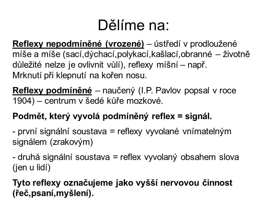 Dělíme na: Reflexy nepodmíněné (vrozené) – ústředí v prodloužené míše a míše (sací,dýchací,polykací,kašlací,obranné – životně důležité nelze je ovlivn