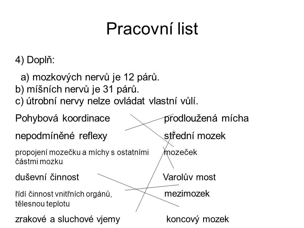 Pracovní list 4) Doplň: a) mozkových nervů je 12 párů. b) míšních nervů je 31 párů. c) útrobní nervy nelze ovládat vlastní vůlí. Pohybová koordinace p
