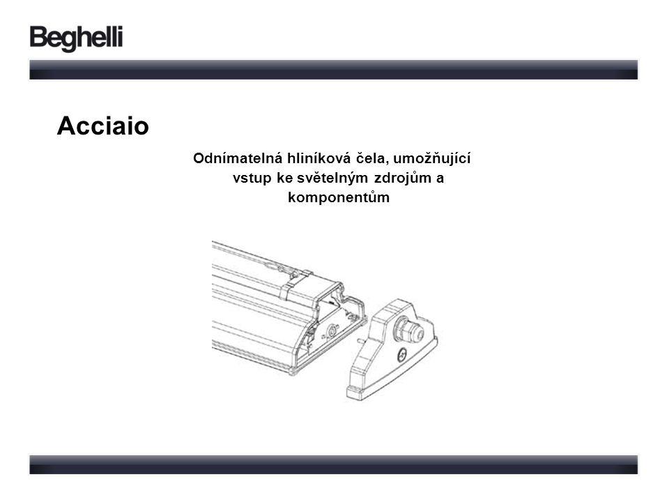Odnímatelná hliníková čela, umožňující vstup ke světelným zdrojům a komponentům Acciaio