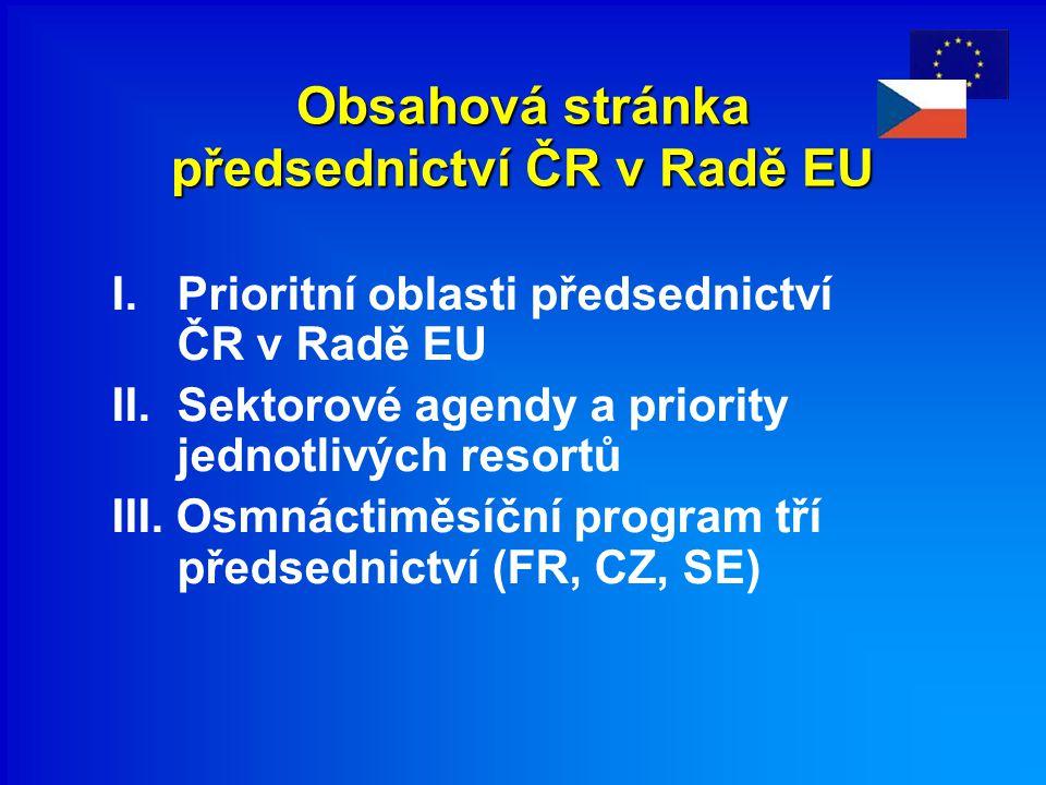 Obsahová stránka předsednictví ČR v Radě EU I. Prioritní oblasti předsednictví ČR v Radě EU II. Sektorové agendy a priority jednotlivých resortů III.