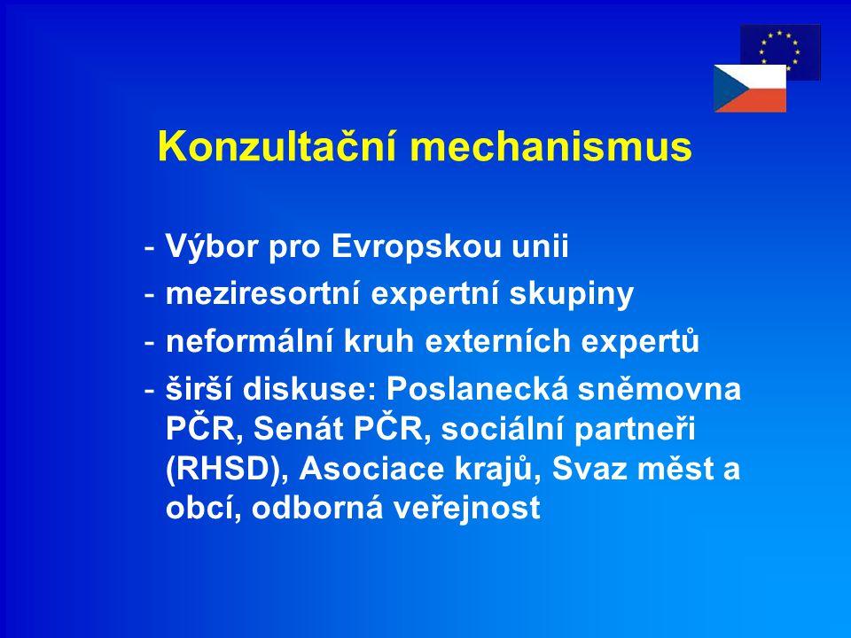 Konzultační mechanismus -Výbor pro Evropskou unii -meziresortní expertní skupiny -neformální kruh externích expertů -širší diskuse: Poslanecká sněmovn