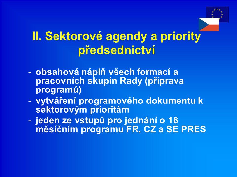 II. Sektorové agendy a priority předsednictví -obsahová náplň všech formací a pracovních skupin Rady (příprava programů) -vytváření programového dokum