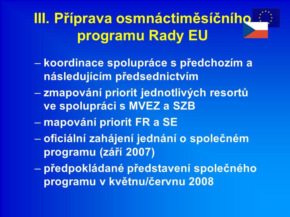 III. Příprava osmnáctiměsíčního programu Rady EU –koordinace spolupráce s předchozím a následujícím předsednictvím –zmapování priorit jednotlivých res