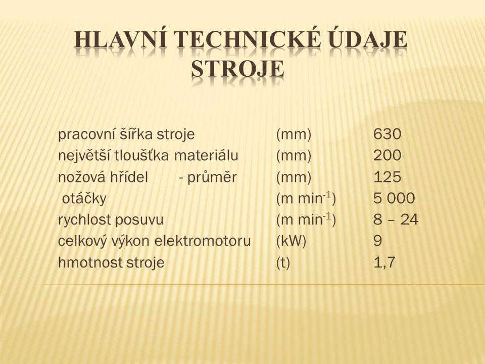 pracovní šířka stroje(mm)630 největší tloušťka materiálu(mm)200 nožová hřídel - průměr(mm)125 otáčky(m min -1 )5 000 rychlost posuvu(m min -1 )8 – 24