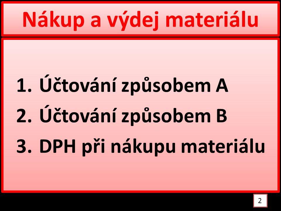 Nákup a výdej materiálu 1.Účtování způsobem A 2.Účtování způsobem B 3.DPH při nákupu materiálu 1.Účtování způsobem A 2.Účtování způsobem B 3.DPH při nákupu materiálu 2