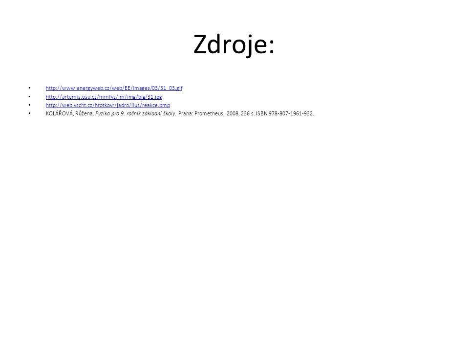 Zdroje: http://www.energyweb.cz/web/EE/images/03/31_03.gif http://artemis.osu.cz/mmfyz/jm/img/big/31.jpg http://web.vscht.cz/hrotkovr/jadro/ilus/reakc