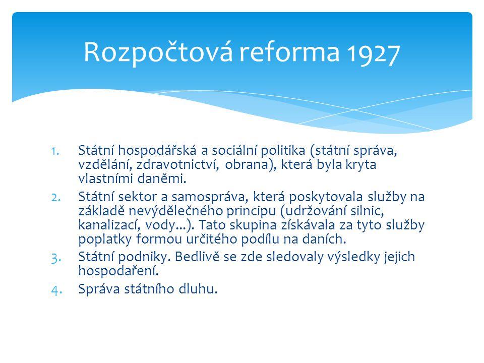 1.Státní hospodářská a sociální politika (státní správa, vzdělání, zdravotnictví, obrana), která byla kryta vlastními daněmi. 2.Státní sektor a samosp