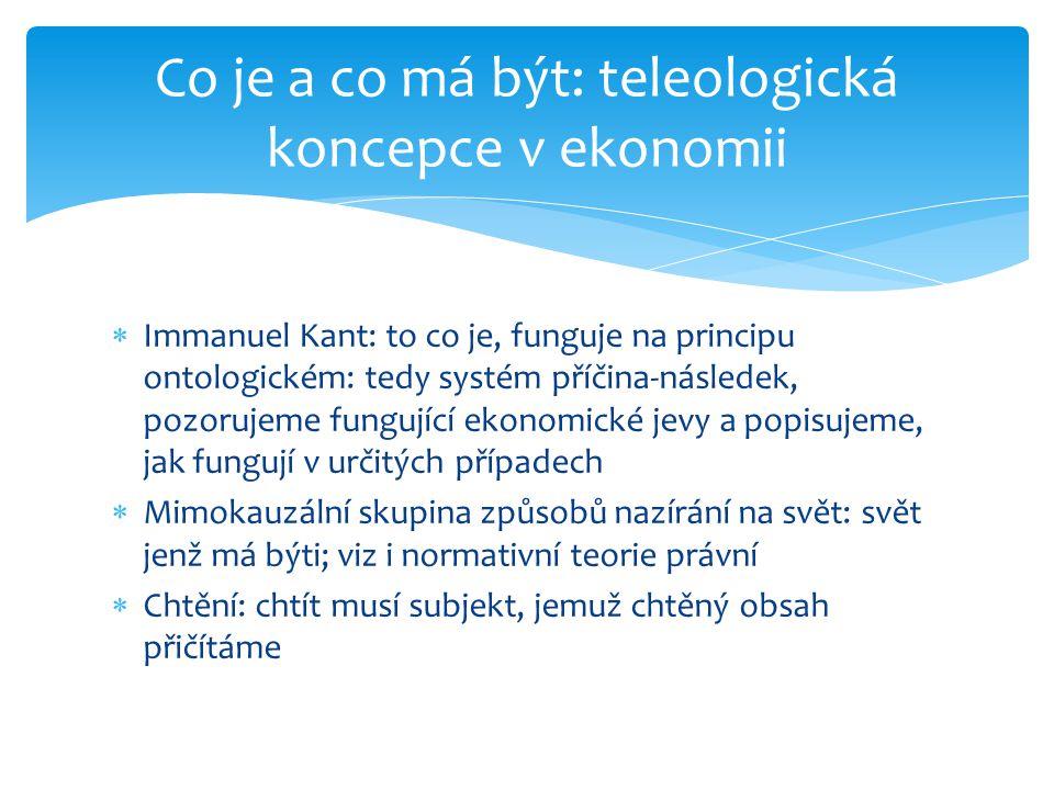  Immanuel Kant: to co je, funguje na principu ontologickém: tedy systém příčina-následek, pozorujeme fungující ekonomické jevy a popisujeme, jak fung