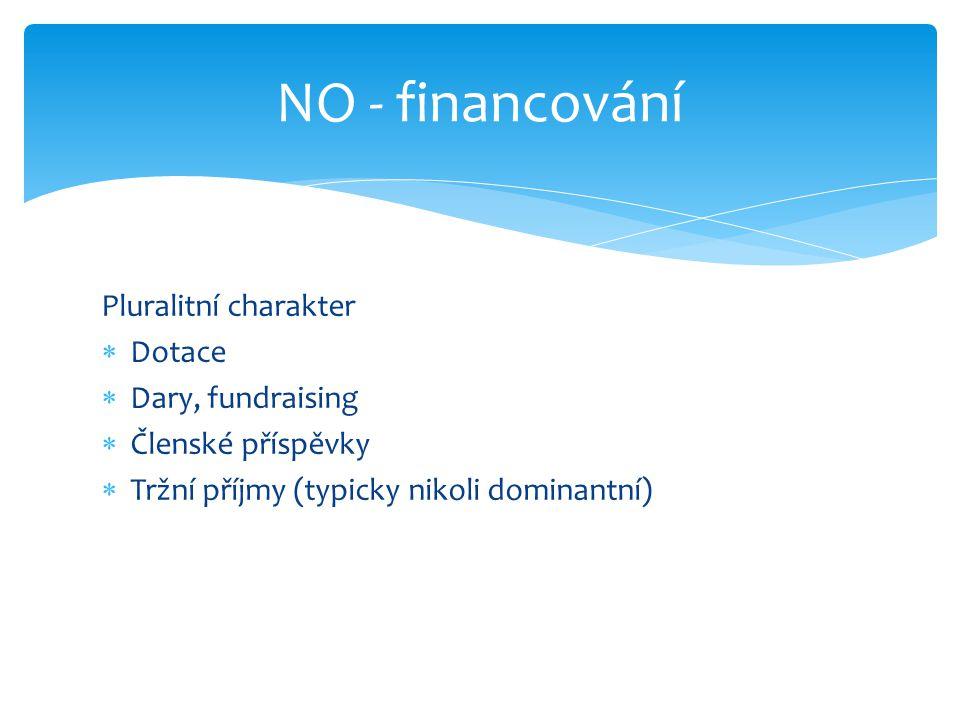 Pluralitní charakter  Dotace  Dary, fundraising  Členské příspěvky  Tržní příjmy (typicky nikoli dominantní) NO - financování